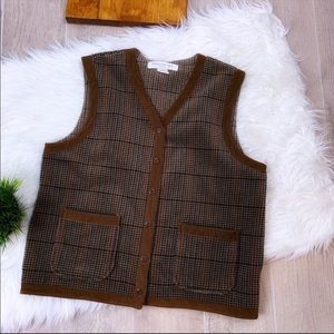 Jones New York Plaid Vneck Button Down Vest Med